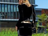 欧洲站女装欧美秋季新品丝绒拼皮小西装长袖上衣+短裤OL套装510