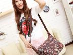 韩版 外贸水洗布双层横款女包 单肩斜挎包包 多用休闲布包
