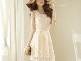 直批韩版春装圆领钉珠 蕾丝可爱百搭连衣裙蛋糕裙配腰带K8249