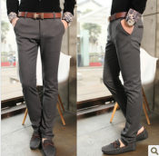 2013新款男士版型超好腰间撞色百搭修身长裤休闲裤