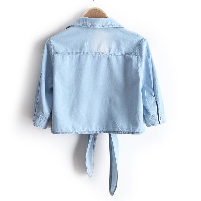 夏季韩版百搭薄牛仔打结坎肩短款外套外搭小披肩开衫衬衫女防晒衣