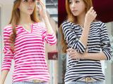2014秋季新款韩版女式长袖T恤 V领细条纹t恤女 女装打底衫批