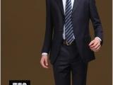 西服套装男士商务修身正装职业工作西装 黑色二扣职业装