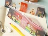 韩国文具 bookzzicard㊣创意二重生活三角透明PVC笔袋