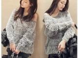 2014春装韩版针织衫圆领显瘦宽松大码毛衣马海毛套头毛衣打底衫女