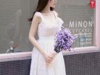 2014春夏新款韩版小清新蕾丝无袖蝴蝶结系带连衣裙