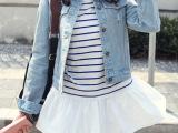 韩国代购秋装韩版新款上衣棉细横条纹打底衫裙摆长袖T恤女装