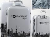 拉杆箱白色旅游行李箱包东莞旅行箱批发建筑纹拉杆箱登机箱飞机轮