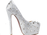 2013年新款 现货供应 烫钻打不规则银色钉时尚高跟女鞋 婚鞋