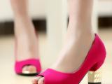时尚简约2014年春夏季磨砂粗跟鱼嘴休闲凉女鞋子一件代发提供数据