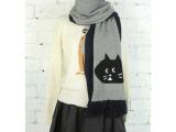 ne-net14冬新款猫咪围巾配色 一件代发 加长款流苏围巾