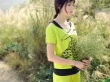 2015夏季新款时尚修身短袖两件套 韩版拼色头像显瘦女式休闲套装