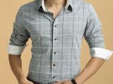 曼狮堡新款男士经典格子长袖衬衫 男士商务品牌厂家批发