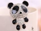 【伙拼】黑白满水钻熊猫diy合金配件 手机壳饰品材料批发厂家直销