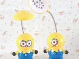 Q版小黄人可爱卡通LED充电小夜灯 学生儿童护眼折叠台灯 创意个