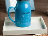 日用小商品批发简约牛奶杯 可爱创意陶瓷杯咖啡杯情侣杯logo定制