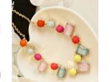 百搭清新五彩钻宝石搭配项链糖果色小清新彩色糖果色项链
