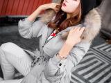 新款女式韩版中长款羽绒服 品牌真貉子毛领加厚修身羽绒服女批发