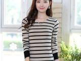 2014秋季新款女式T恤  圆领时尚百搭修身黑白条纹长袖打底衫