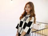 2014秋韩国东大门复古黑白格子宽松五分袖短款针织衫套头毛衣