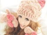 韩国 秋冬恶魔角针织帽猫耳朵韩版珍珠蝴蝶结保暖可爱毛线帽子批