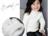 冬装韩版女童装婴儿毛衣宝宝针织衫高领蕾丝花边加绒加厚打底毛衣