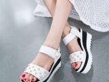 2015夏季新款欧美厚底松糕跟鱼嘴凉鞋女珍珠真皮坡跟女鞋一件批发