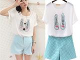 2014韩版新款 女装印花镶珠蝴蝶结雪纺衫短袖+波点短裤两件套装