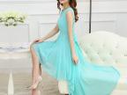 实拍2015新款女装 夏季韩版波西米亚雪纺连衣裙 不规则沙滩裙长裙