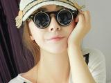 蒸汽朋克风格黑色翻盖双层太阳眼镜 欧美复古男女摇滚墨镜