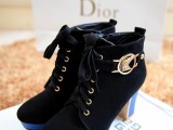 女鞋批发厂家直销 秋季新品时尚高跟粗跟女靴子 金属电镀跟装饰