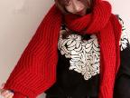 韩版冬天新品大红色针织保暖加厚超长韩国冬季毛线围巾女围脖