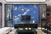 供应优质真丝面料手绘花鸟硬包视背景墙 杭州真丝面料价格