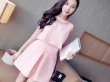 韩版新款假2件拼蕾丝背心+百搭高腰蓬蓬半身裙 套装