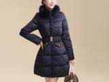 2014冬装新款外套 韩版奢华时尚修身完美毛领中长款羽绒服女潮