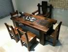 上饶老船木茶桌椅组合实木仿古船木功夫茶艺桌