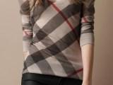 2014高端品质女装U领羊绒羊毛衫格子女士毛衣微商货源批发