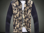 秋季新款个性碎花加肥加大码休闲男士立领夹克韩版潮男装外套男