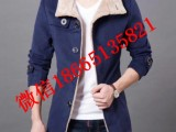 秋冬季男士风衣男中长款韩版修身加厚帅气呢子外套