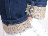 2013春新款牛仔裤新可翻折弹力小脚铅笔