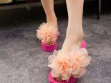 波希米亚女沙滩鞋高跟拖鞋韩版花朵厚底松糕坡跟人字拖女鞋批发