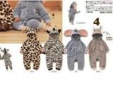 冬款三层夹棉 小动物造型宝宝哈衣/爬服 长颈鹿/斑马