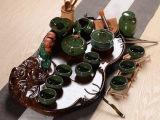 紫砂整套茶具套装冰裂茶具套装陶瓷笑佛茶盘 整块科技木茶海 特价