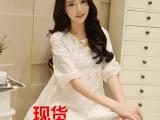 2014新款女雪纺衫宽松圆领中袖上衣女蕾丝衫娃娃衫大码