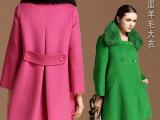 毛呢子羊绒羊毛大衣 欧美纯手工女士品牌高档双面羊绒大衣批发