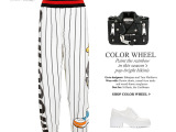 欧美潮牌  达菲鸭图案 黑白条纹 九分长裤  哈伦裤 女