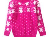 女童毛衣冬款 儿童毛衣卡通小熊立领修身保暖女童装宝宝毛衣