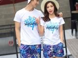 情侣装夏装套装班服时髦套装韩版修身2018情侣短袖T恤潮