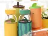 可爱水果创意玻璃杯透明带杯套 便携杯子带盖 暖手水杯 促销礼品