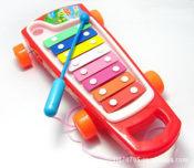 混批彩色八音琴拖车 拉线敲琴 带学步功能 儿童玩具0.52